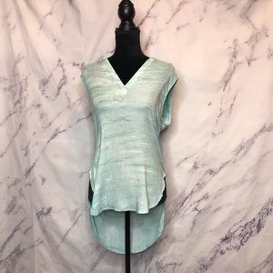 Cloth and Stone Watercolor  Blue Sleeveless Top